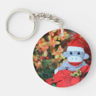 Mono del navidad llavero redondo acrílico a una cara