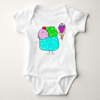 Mono del niño de la ropa del bebé del helado remeras
