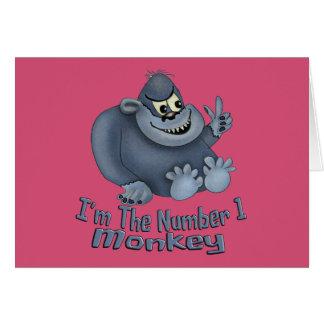 Mono del número 1 tarjeta de felicitación