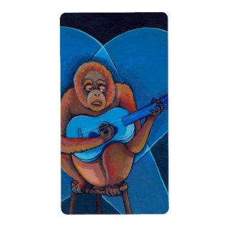 Mono del orangután del guitarrista de los azules d etiqueta de envío