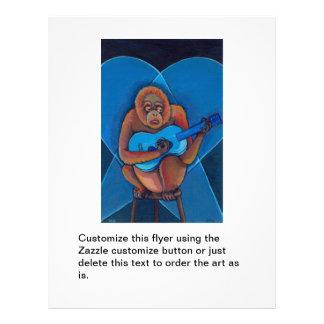 """Mono del orangután del guitarrista de los azules folleto 8.5"""" x 11"""""""