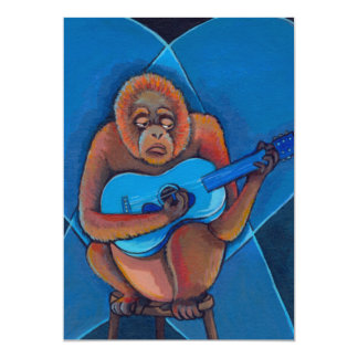 """Mono del orangután del guitarrista de los azules invitación 5"""" x 7"""""""