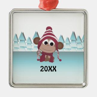 Mono del país de las maravillas del invierno adorno navideño cuadrado de metal