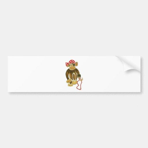 Mono del pirata etiqueta de parachoque