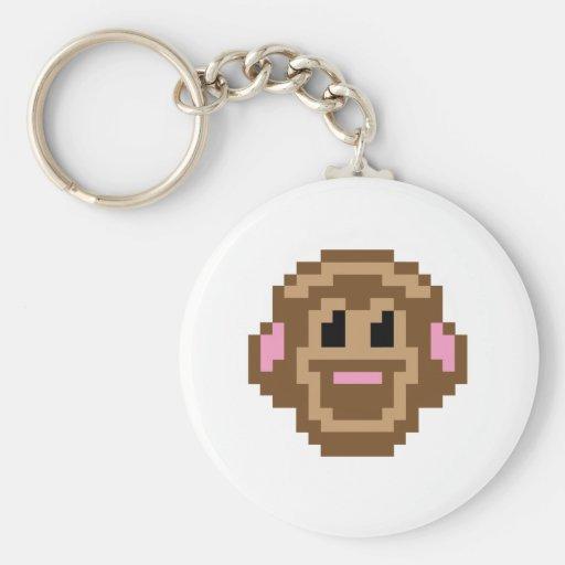 Mono del pixel llavero redondo tipo pin