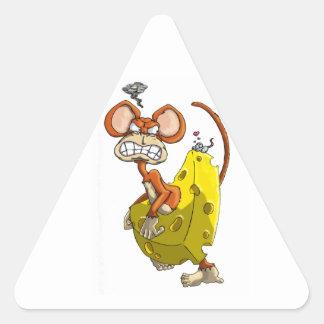 Mono del queso pegatina triangular