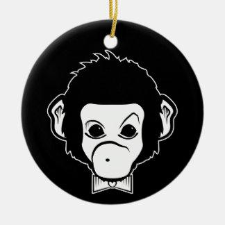 mono del señor adorno redondo de cerámica