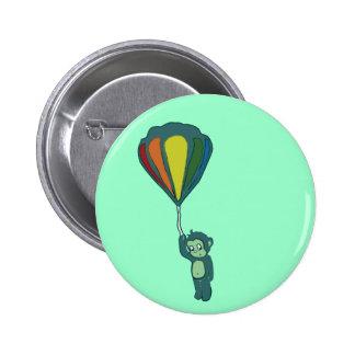 mono del vuelo: globo del aire caliente pin redondo de 2 pulgadas