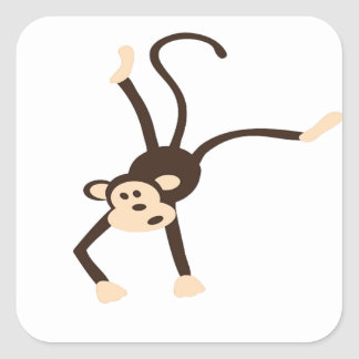 Mono del vuelo pegatina cuadrada