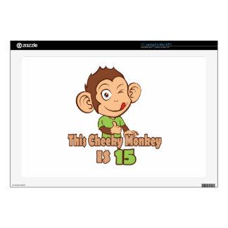 Mono divertido cumpleaños de 15 años calcomanía para portátil