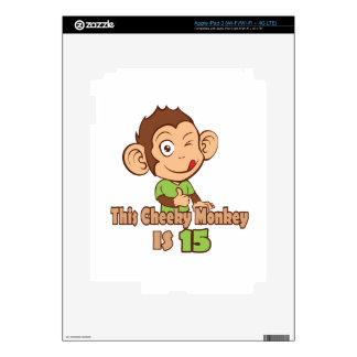 Mono divertido cumpleaños de 15 años iPad 3 pegatina skin