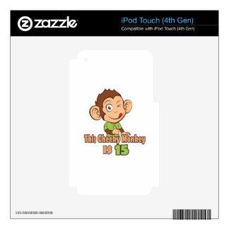 Mono divertido cumpleaños de 15 años iPod touch 4G calcomanías
