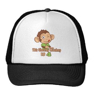Mono divertido cumpleaños de 4 años gorras de camionero