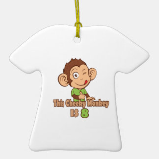 Mono divertido cumpleaños de 8 años adorno de cerámica en forma de playera