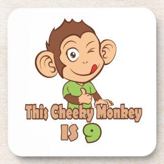 Mono divertido cumpleaños de 9 años posavasos de bebida