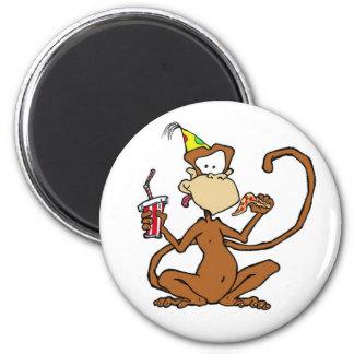 Mono divertido de la pizza del dibujo animado imán redondo 5 cm