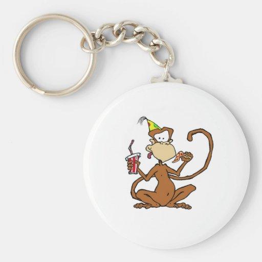 Mono divertido de la pizza del dibujo animado llaveros personalizados