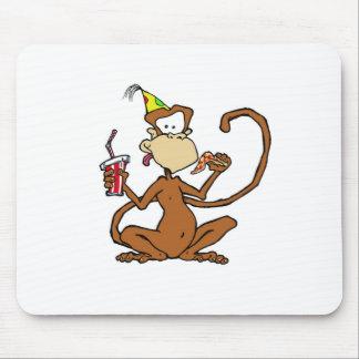 Mono divertido de la pizza del dibujo animado tapetes de ratones