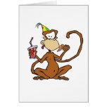 Mono divertido de la pizza del dibujo animado tarjeton