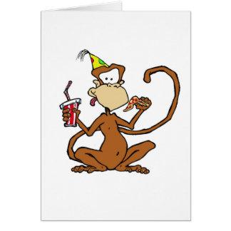Mono divertido de la pizza del dibujo animado tarjeta de felicitación