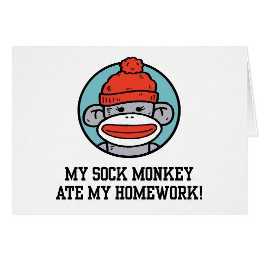 Mono divertido del calcetín felicitación