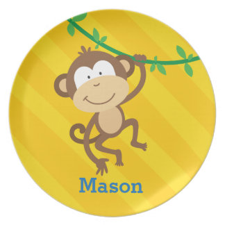 Mono divertido en la placa personalizada selva plato de cena