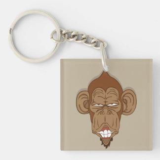 Mono divertido llavero cuadrado acrílico a doble cara