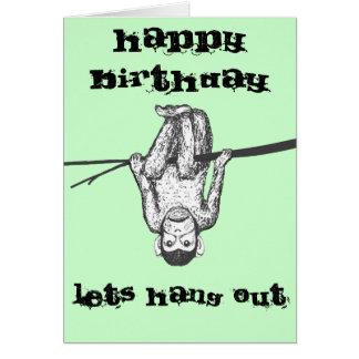Mono divertido que cuelga hacia fuera personalizar tarjeta de felicitación