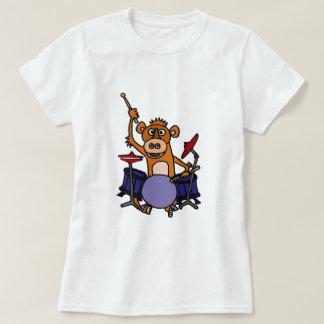 Mono divertido que juega los tambores playera