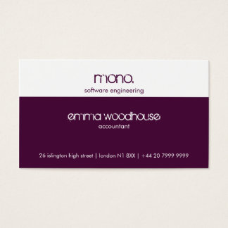 Mono Eggplant Purple & White Business Card