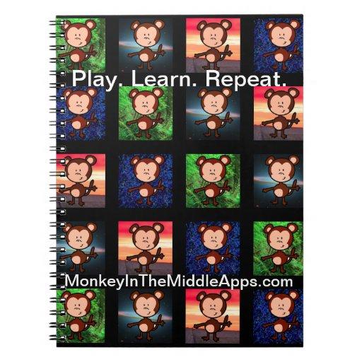 Mono en el cuaderno medio de Apps