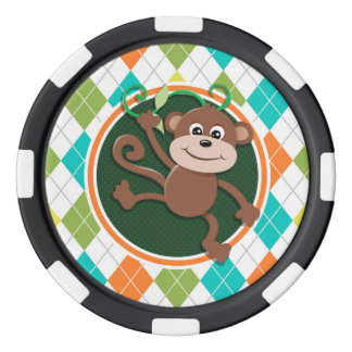 Mono en el modelo colorido de Argyle Juego De Fichas De Póquer