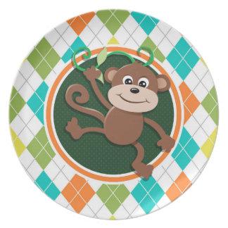 Mono en el modelo colorido de Argyle Plato De Cena