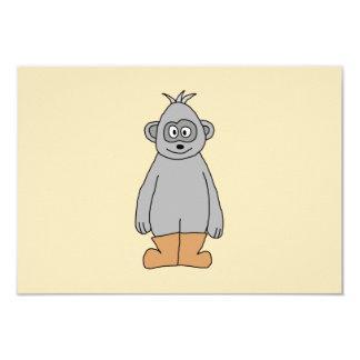 """Mono en las botas de Brown Invitación 3.5"""" X 5"""""""