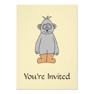 """Mono en las botas de Brown Invitación 5"""" X 7"""""""