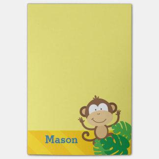 Mono en las notas de post-it personalizadas selva nota post-it