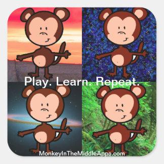 Mono en los pegatinas medios de Apps Calcomanía Cuadradase