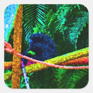 mono en manchas blancas /negras coloridas de la pegatina cuadradas