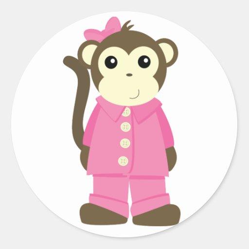 Mono en pijamas etiquetas