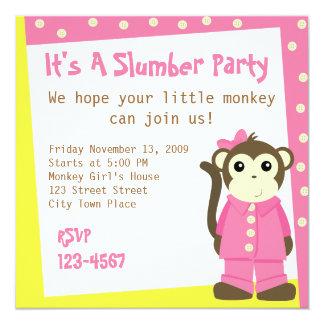 """Mono en pijamas invitación 5.25"""" x 5.25"""""""