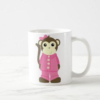 Mono en pijamas taza de café