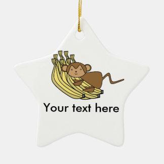 Mono en plátanos ornamento de navidad