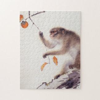 Mono en un árbol de caqui rompecabeza