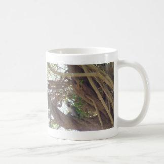 Mono en un árbol tazas