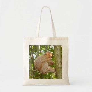 Mono en un bolso de la foto del árbol bolsas