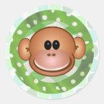 Mono enrrollado pegatinas redondas