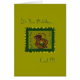 Mono enrrollado tarjeta de felicitación