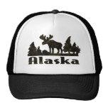 Mono escena de Alaska coloreada de los alces Gorros Bordados