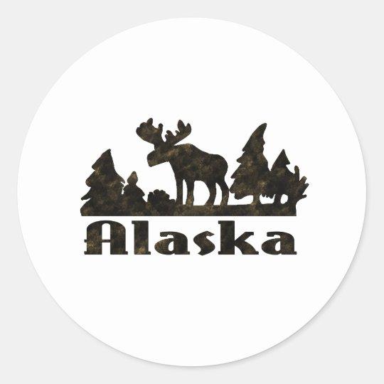 Mono escena de Alaska coloreada de los alces Pegatina Redonda