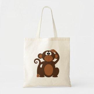 Mono exhausto del dibujo animado de Brown que Bolsa Tela Barata